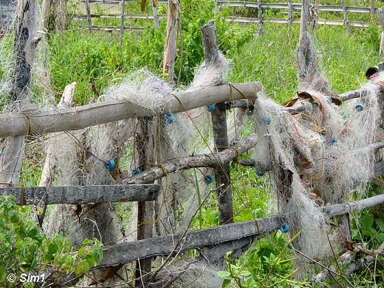 Fishing nets on a fence