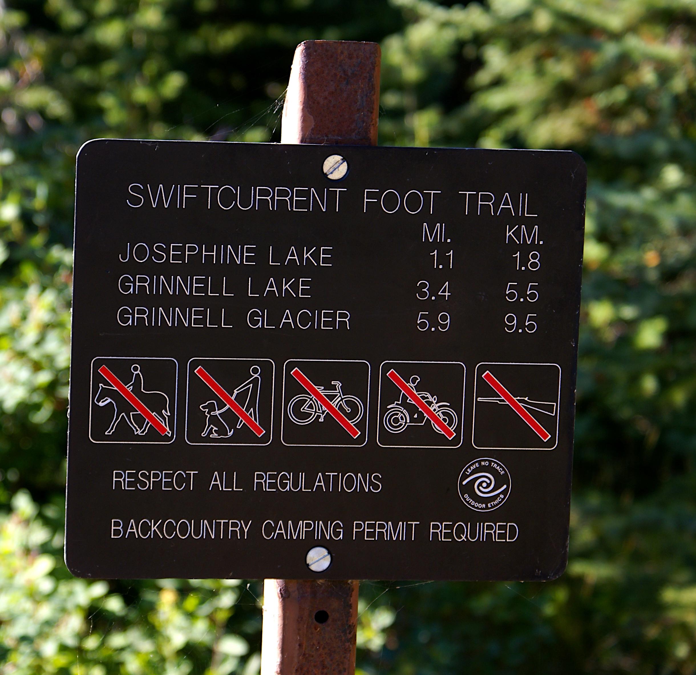 Sign Swiftcurrent Foot Trail, Glacier National Park