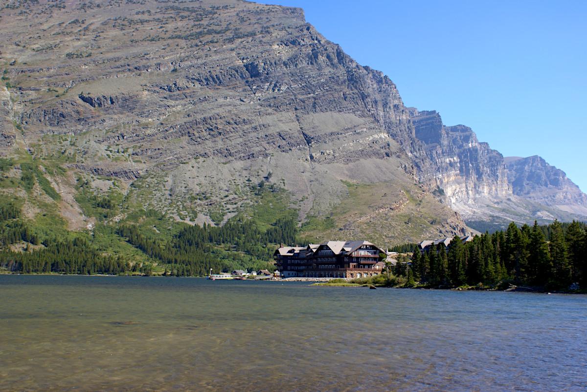 View towards the Many Glacier Hotel, Glacier National Park