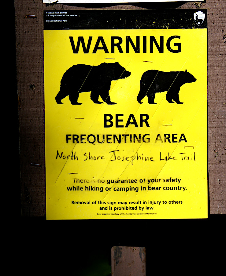 Warning bear frequenting the area, Josephine Lake Trail, Glacier National Park