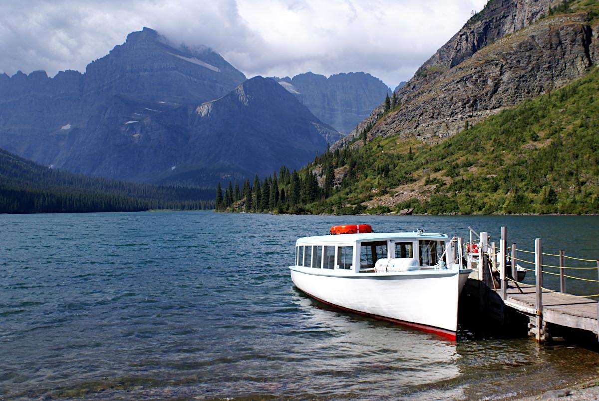 Boat Swiftcurrent Lake, Glacier National Park