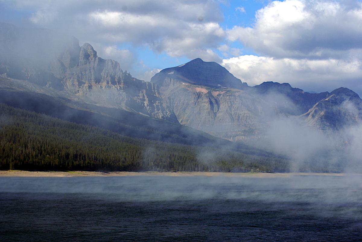 Mist over Lake Sherburne, Glacier National Park
