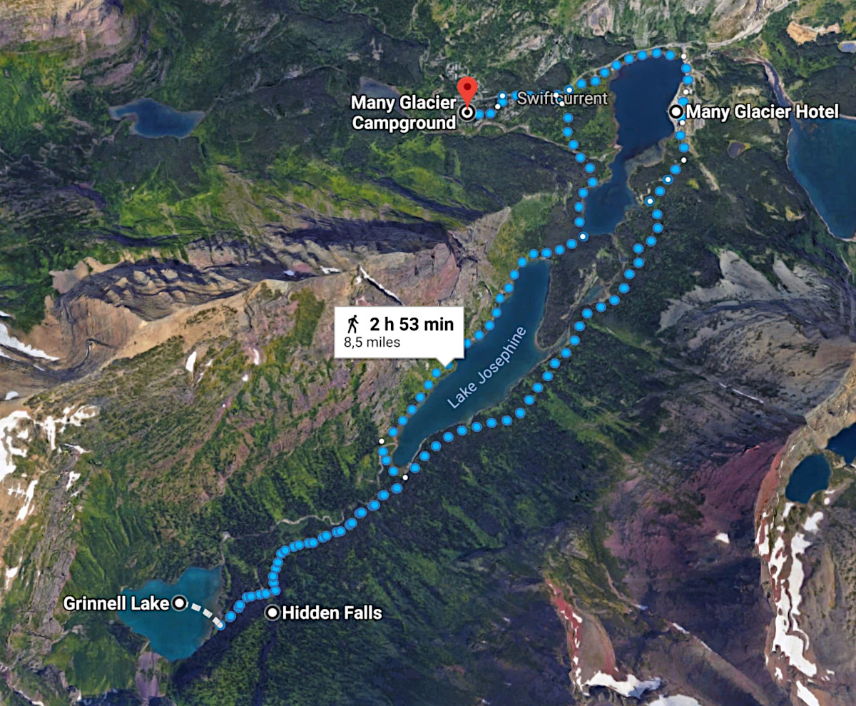 Map hike to Grinnell Lake and Hidden Falls