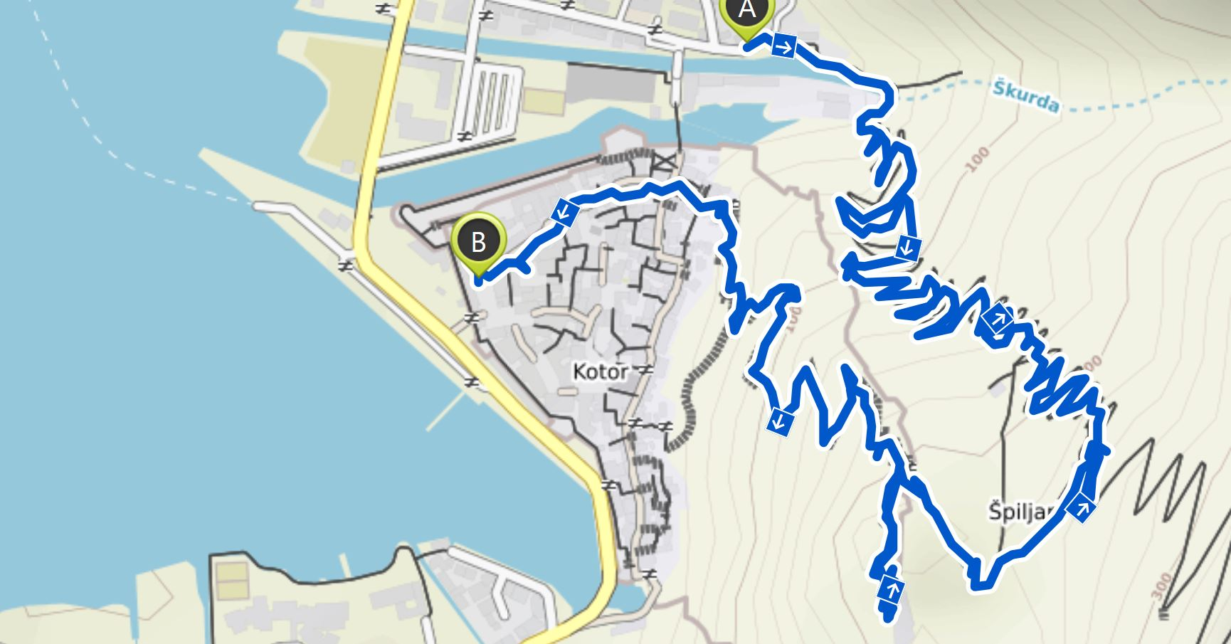 Map of our hike in Kotor