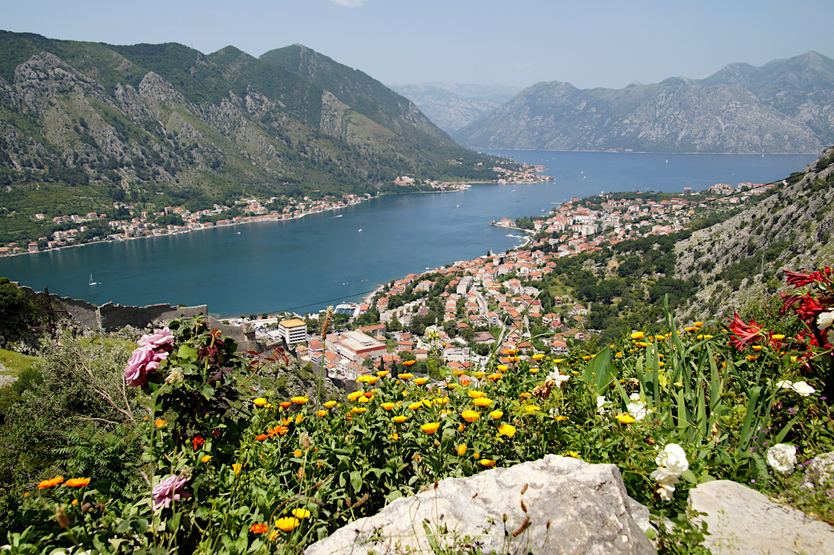 The views from the terrace over the Bay of Kotor