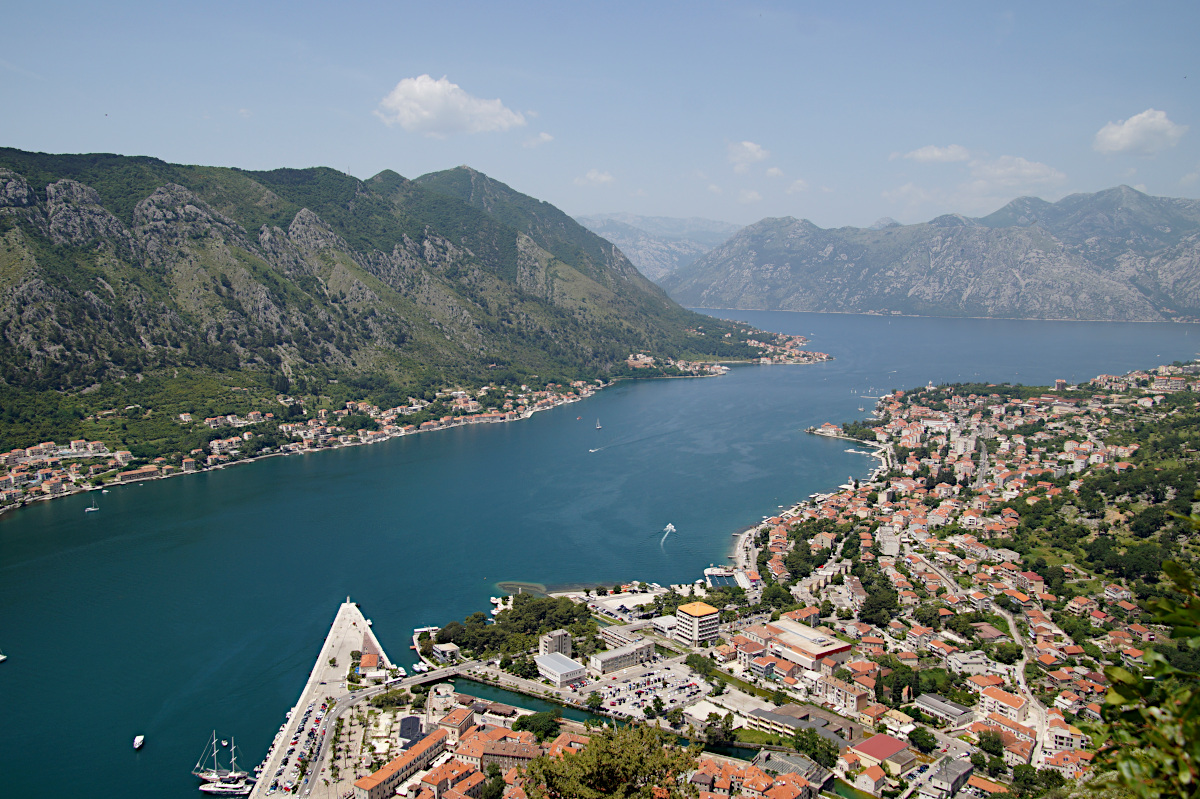 enjoying the fabulous views over the Bay of Kotor