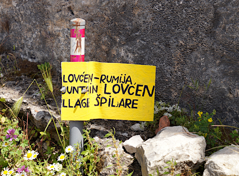 Sign to hiking trail Lovcen and Spiljare