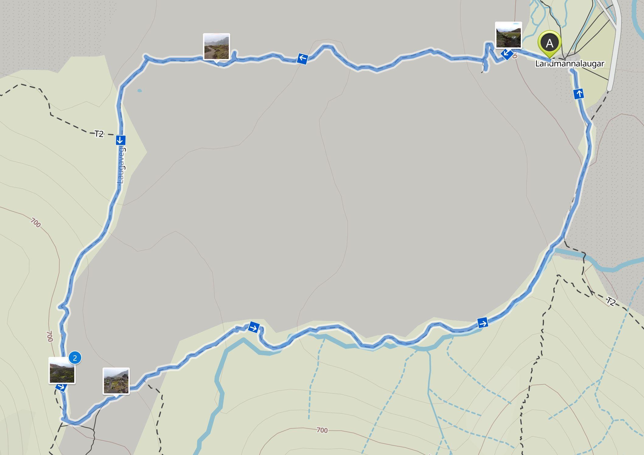 Map Landmannalaugar hike