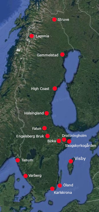 Map Unesco World Heritage Sites Sweden