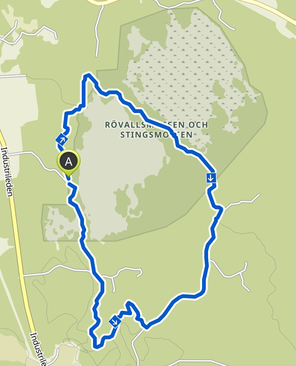 Our hike on the map at Stingmossen