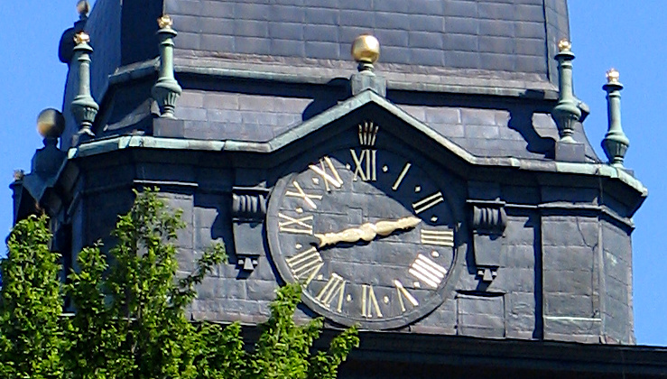The clock on the Strängnäs Cathedral