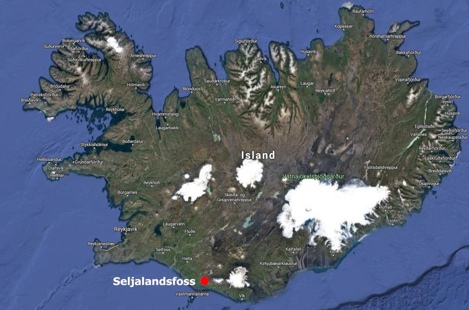 Map Seljalandsfoss