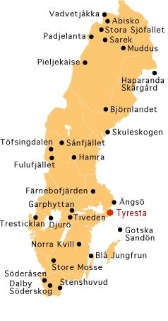 Map of Swedens National Parks