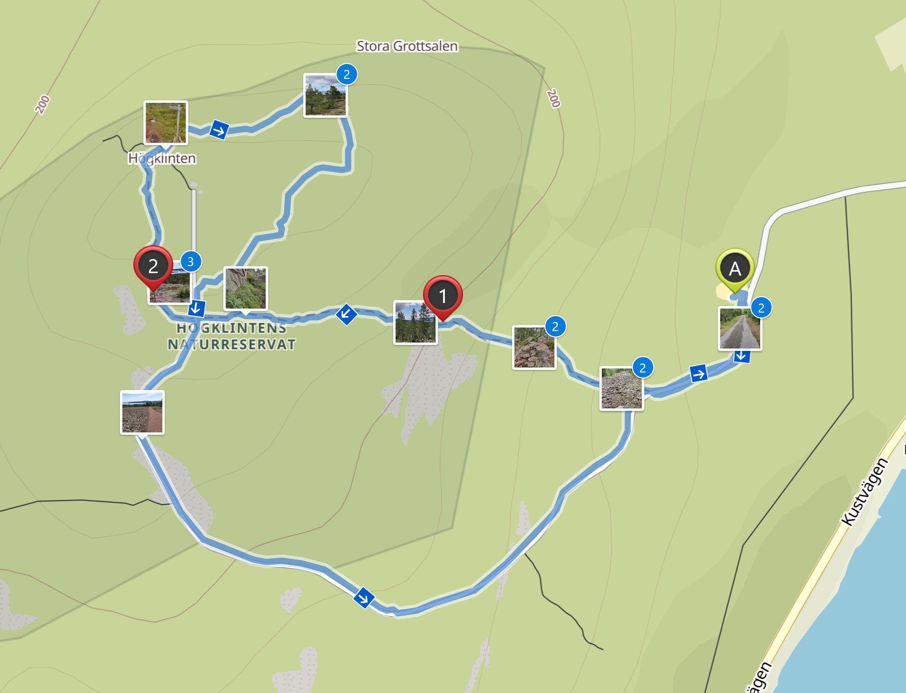 Map Högklinten hike