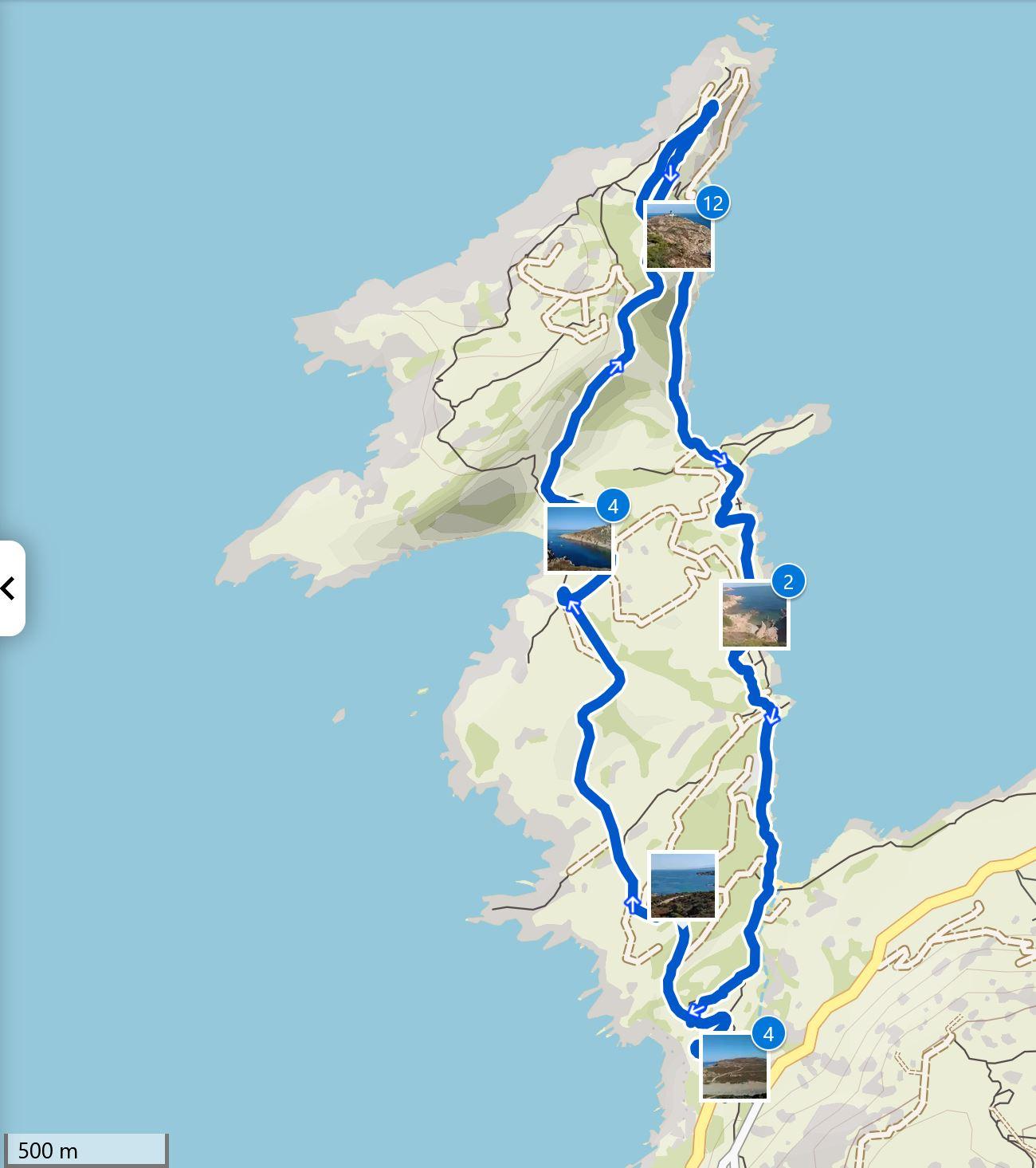 Map Revellata hike