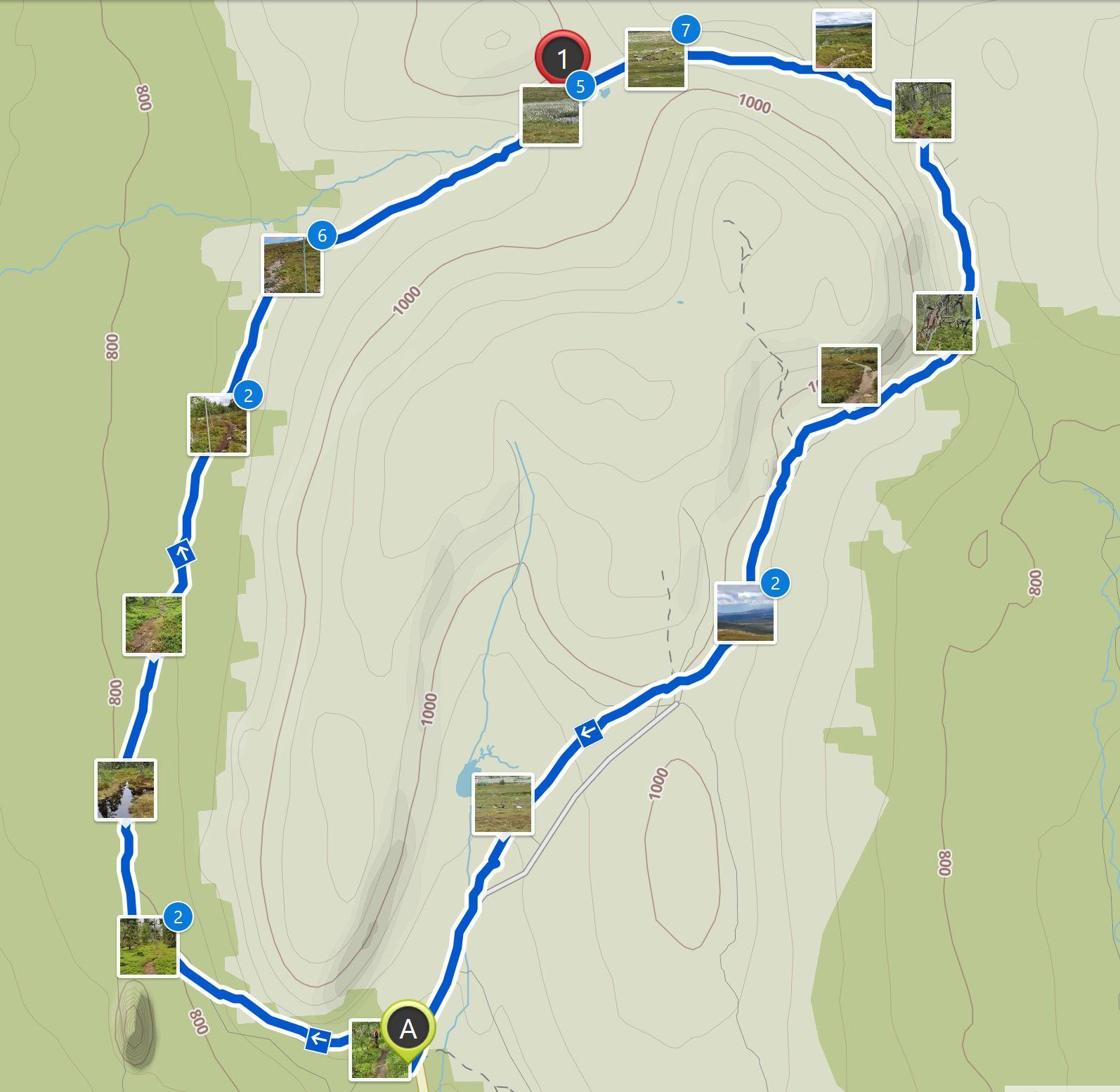 Map Nipfjället hike