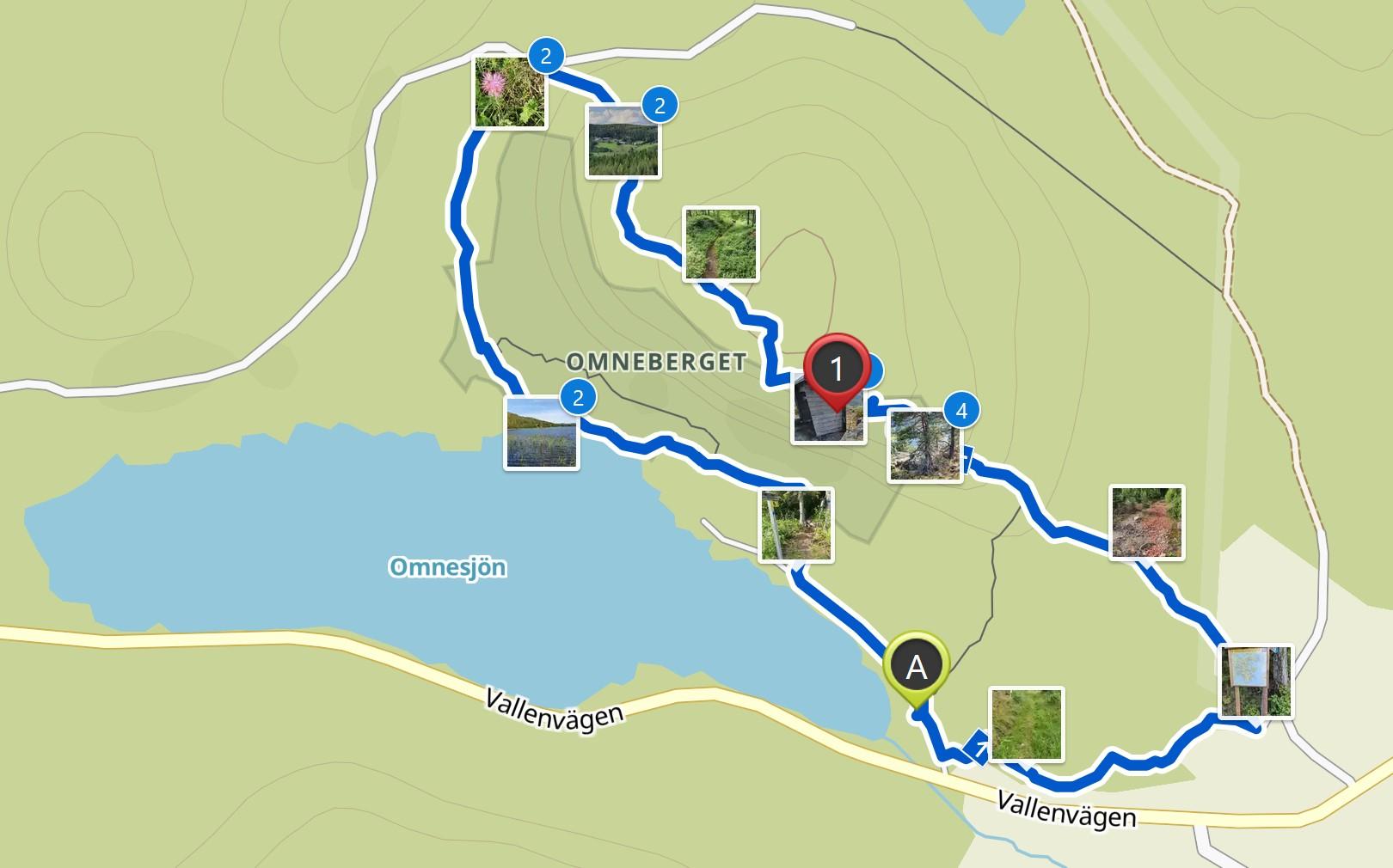 Map Omneberget hike