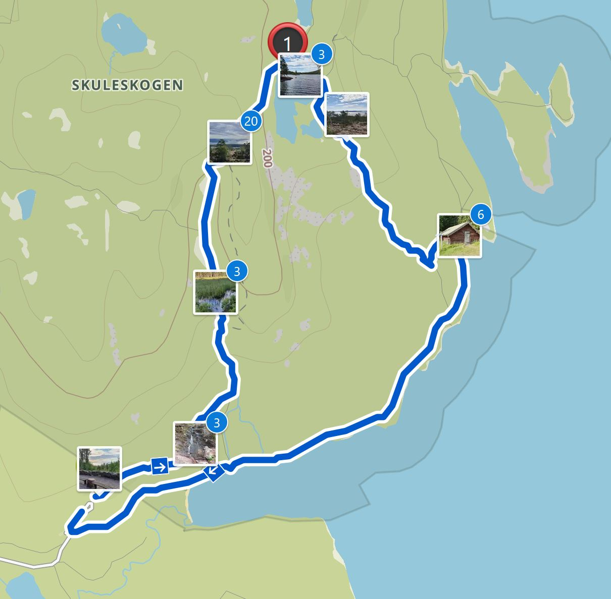Map Skuleskogen hike