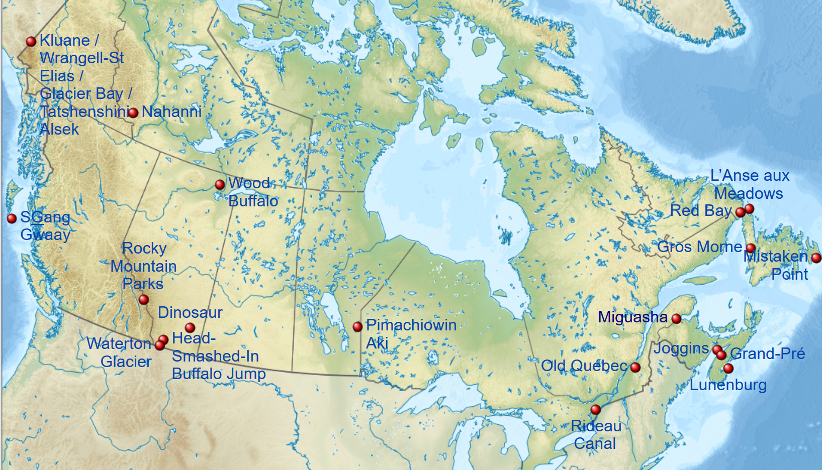 Map Unesco World Heritage Sites Canada
