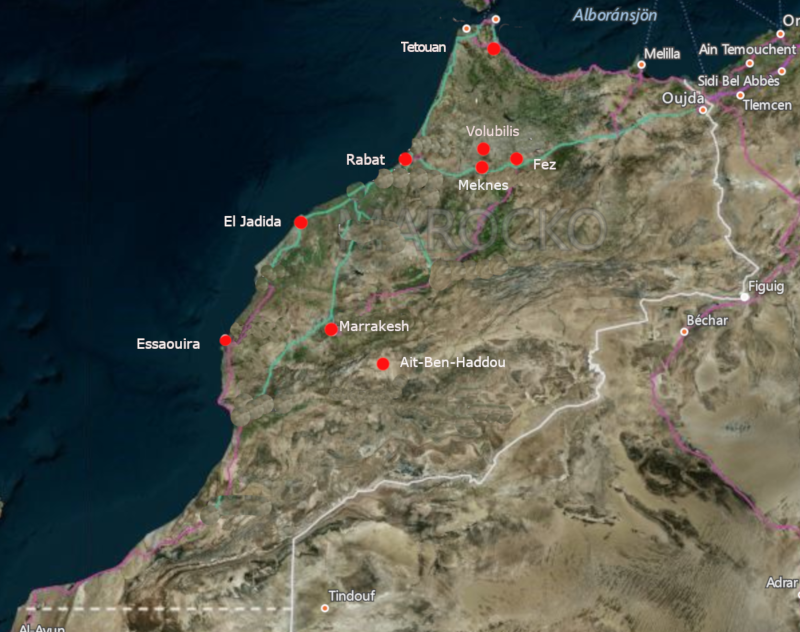 Map Unesco World Heritage Sites in Morocco